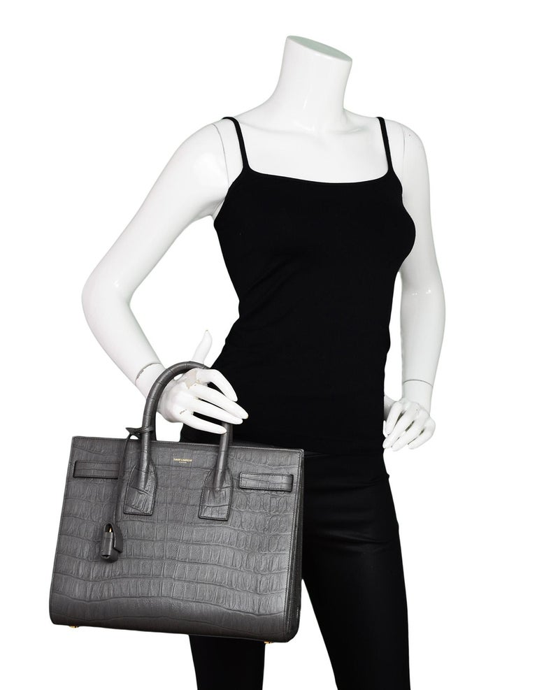 57df3dd420dd Gray Saint Laurent Grey Croc Embossed Calfskin Small Sac de Jour Tote  Crossbody Bag For Sale