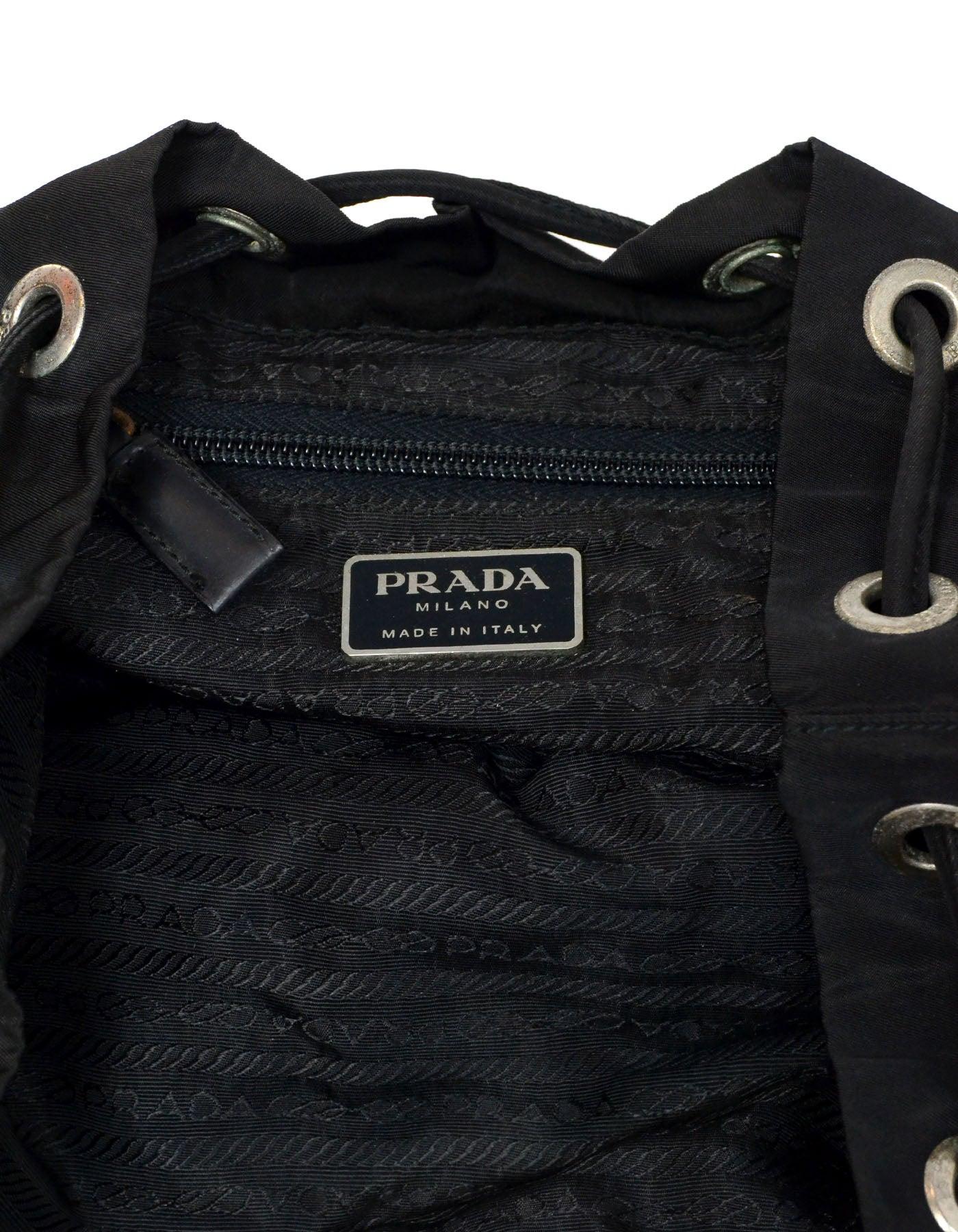 Prada Vintage Black Drawstring Nylon Backpack Bag w  Front Zipper Pocket  For Sale at 1stdibs ae5a56b7815f9