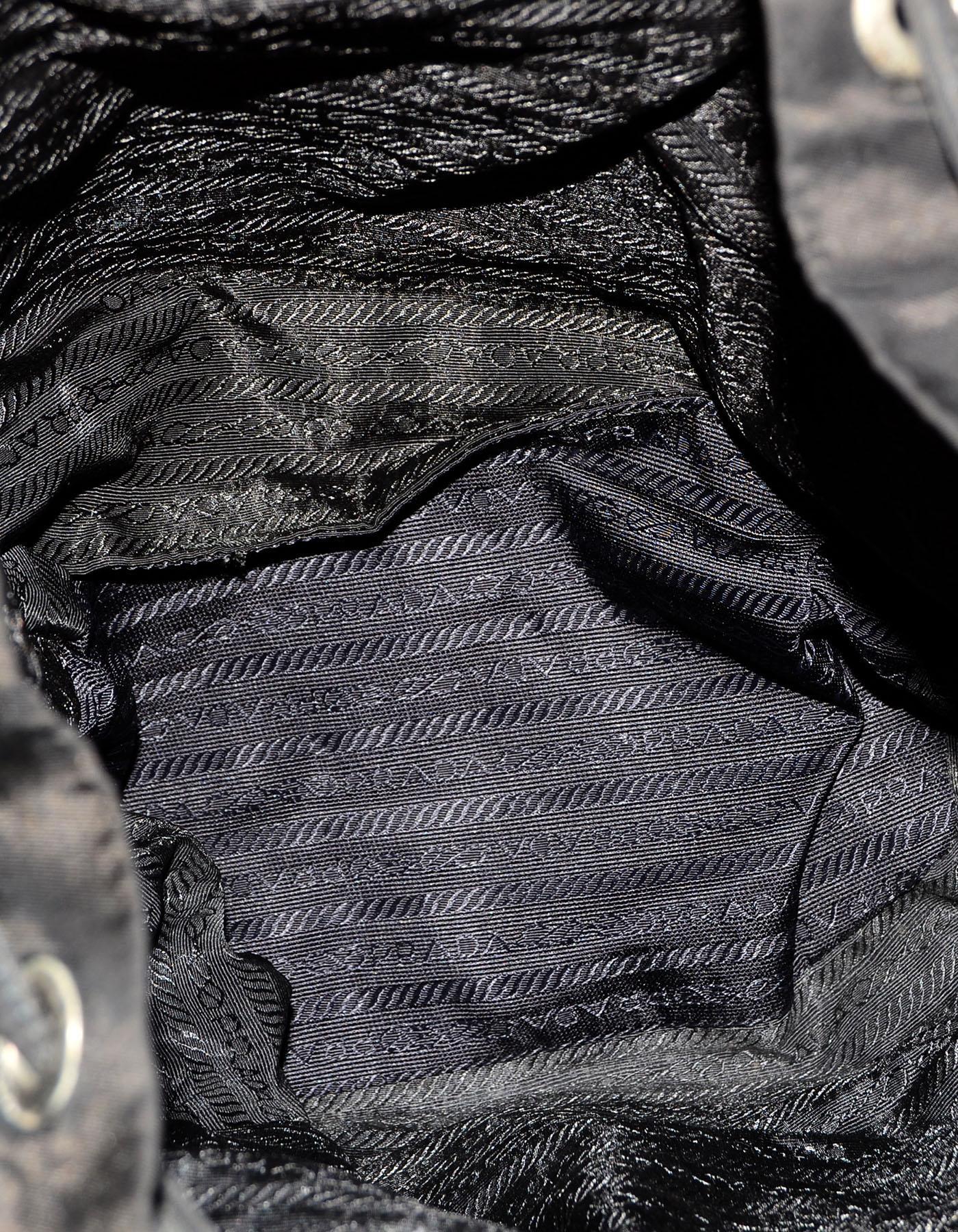 2022bce626c3de ... canada prada vintage black drawstring nylon backpack bag w front zipper  pocket for sale at 1stdibs