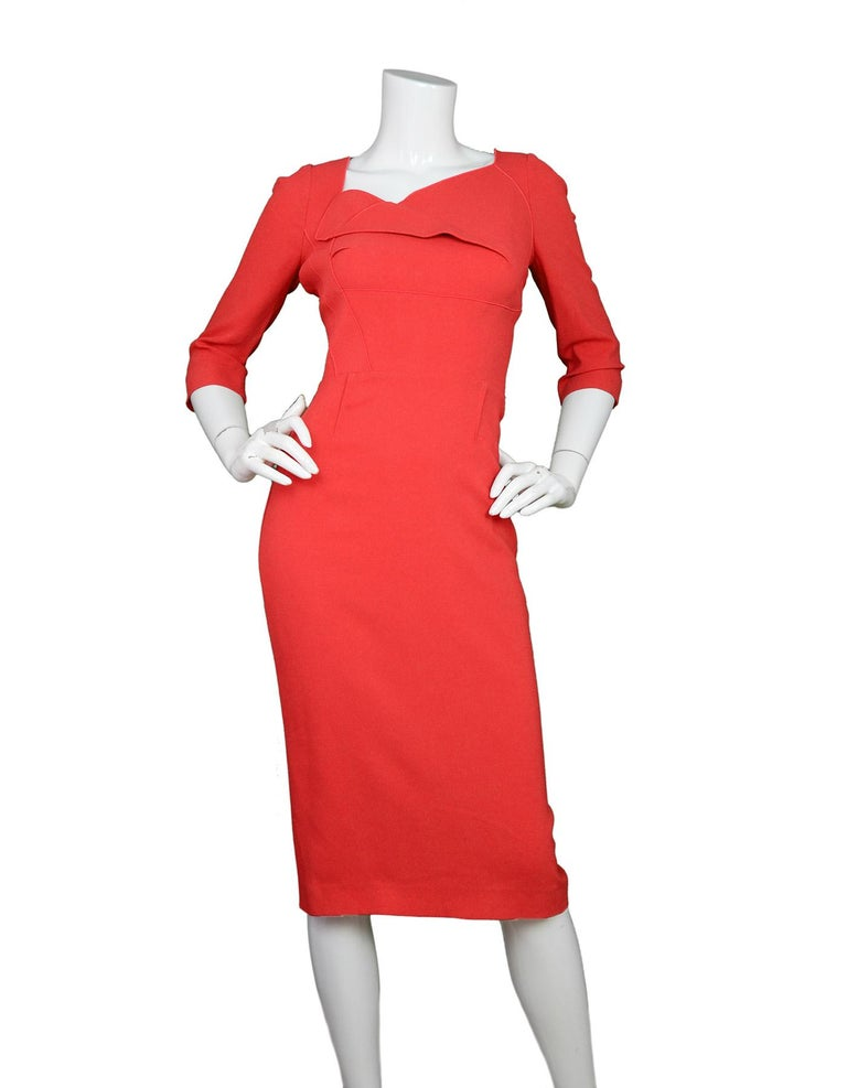Roland Mouret Red 3/4 Sleeve Asymmetrical Neckline Dress With Black Bow Tie at Neck Sz 10  Made In: France Color: Red Materials: 63% Viscose, 34% acetate, 3% Elastane Opening/Closure: Full back zipper Overall Condition: Excellent pre-owned condition