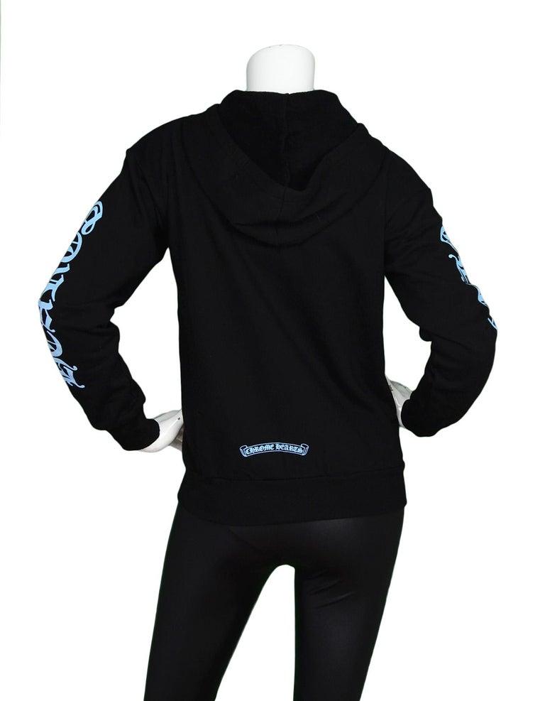 d045db0fa38b5 Women s Chrome Hearts Black Blue Logo Zip Up Hoodie Sweatshirt w. Sterling  sz XS