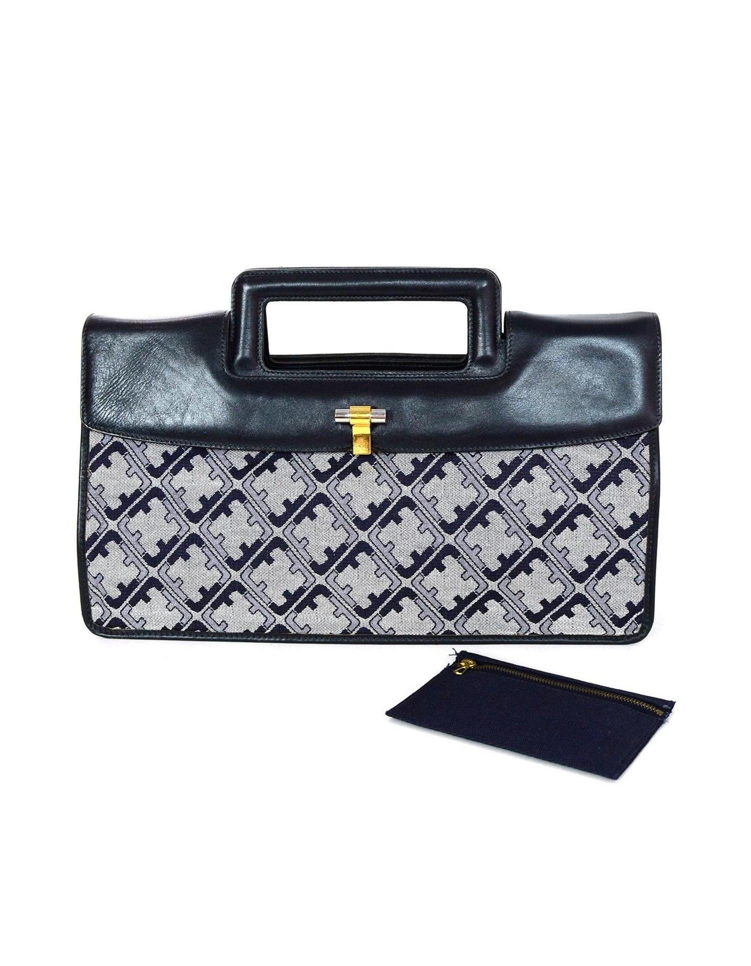 Salvatore Ferragamo Vintage Navy Grey Canvas Leather Monogram Top Handle Bag  For Sale at 1stdibs 3033b2c1ce