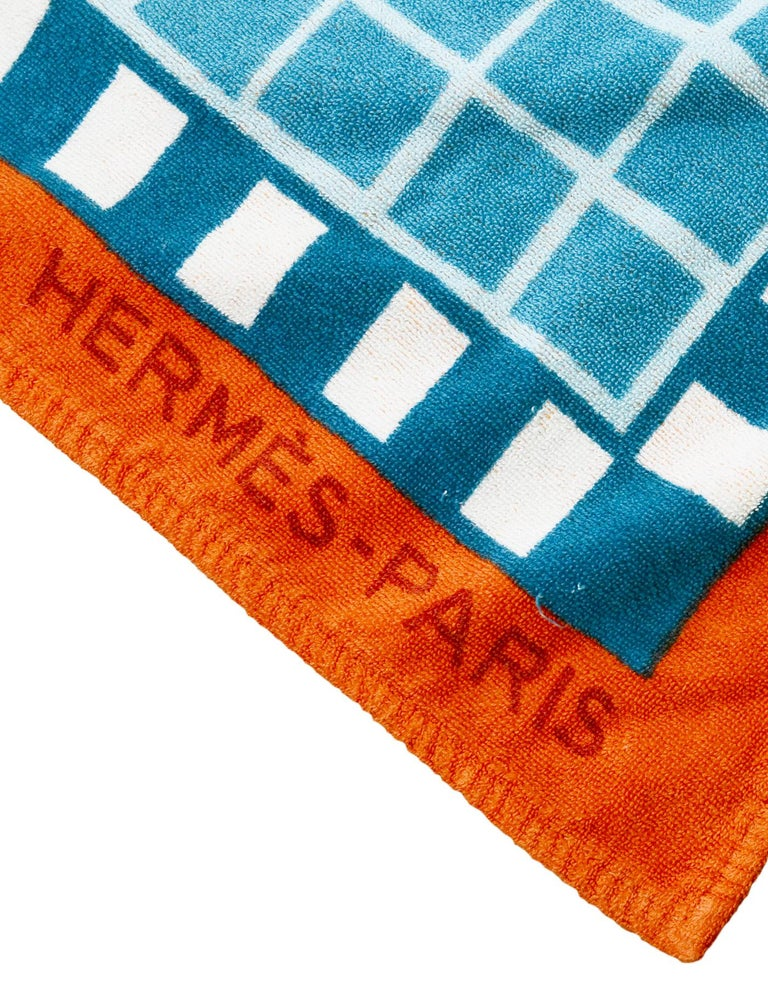 0bb0679542b Hermes Blue Orange Mosaic H Print Terry Cloth Cotton Beach Towel In  Excellent Condition For