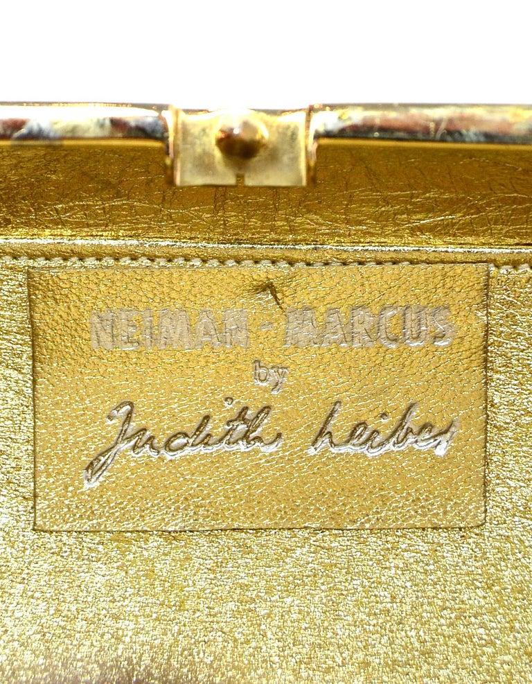 Judith Leiber Gold Minaudiere Clutch Bag w. Stone Closure & Chain Strap  For Sale 4