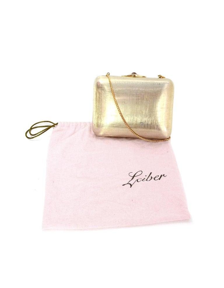Judith Leiber Gold Minaudiere Clutch Bag w. Stone Closure & Chain Strap  For Sale 5
