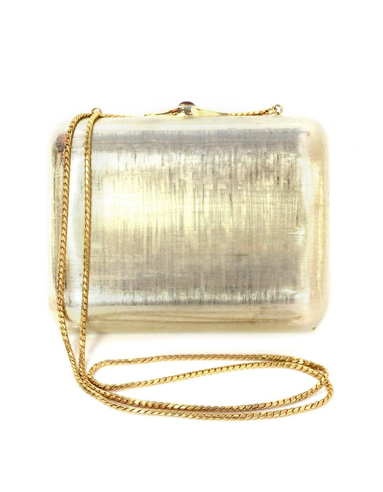 Judith Leiber Gold Minaudiere Clutch Bag w. Stone Closure & Chain Strap  In Excellent Condition For Sale In New York, NY