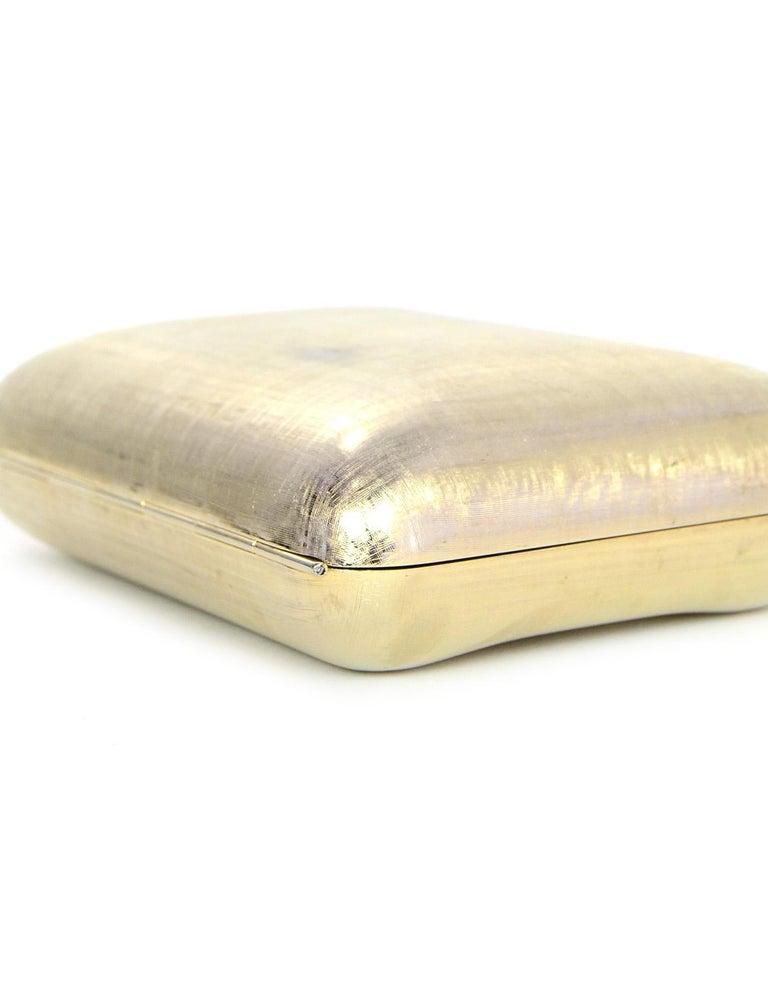 Judith Leiber Gold Minaudiere Clutch Bag w. Stone Closure & Chain Strap  For Sale 2