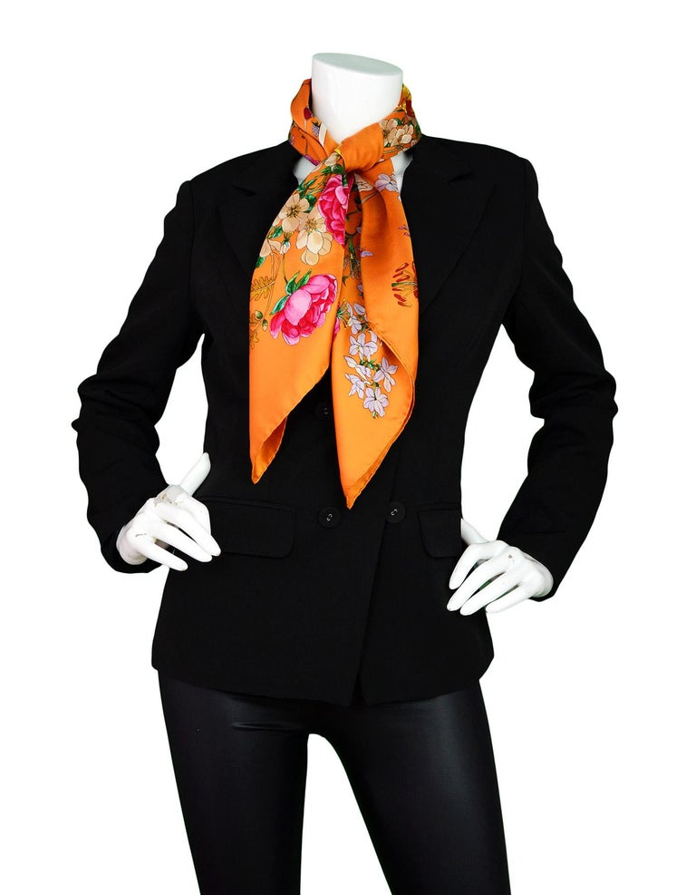 Gucci Silk Orange Mixed Floral Pattern Scarf 34