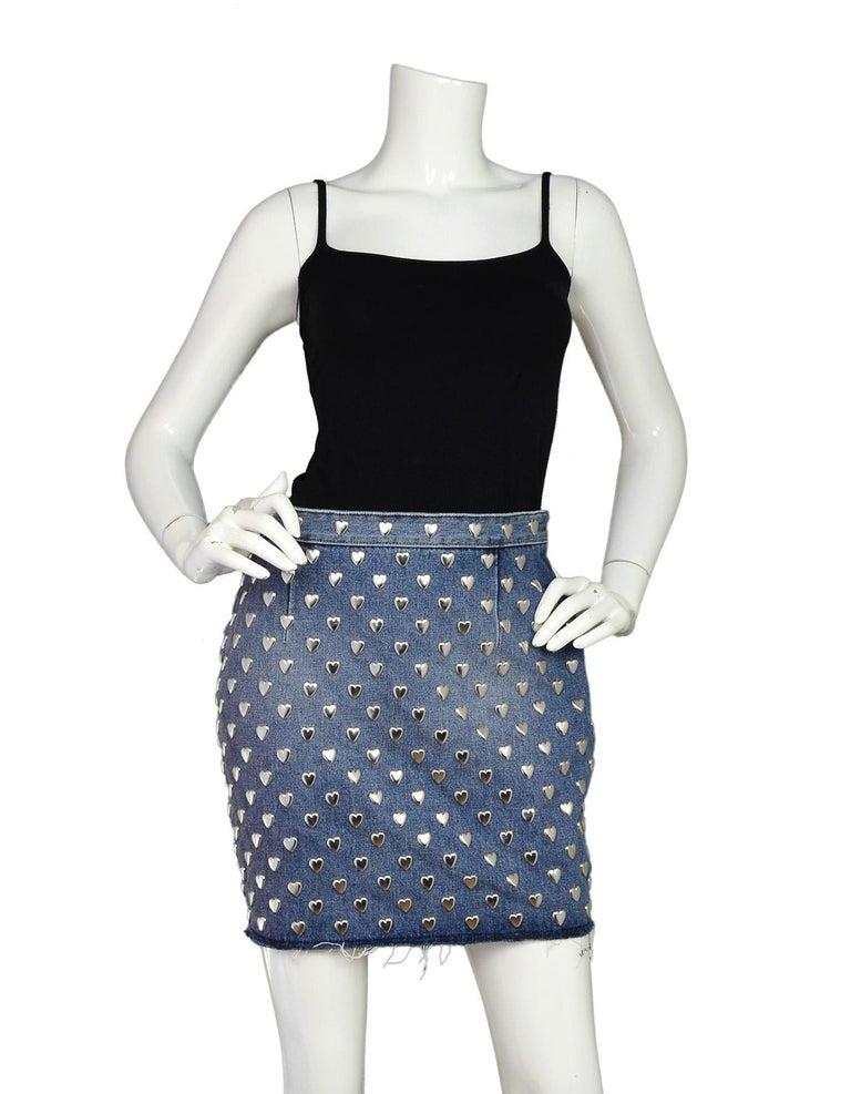 e8743caa822 Saint Laurent Blue Denim Silver Heart Stud Mini Skirt Sz 29 With Raw Hem  Made In
