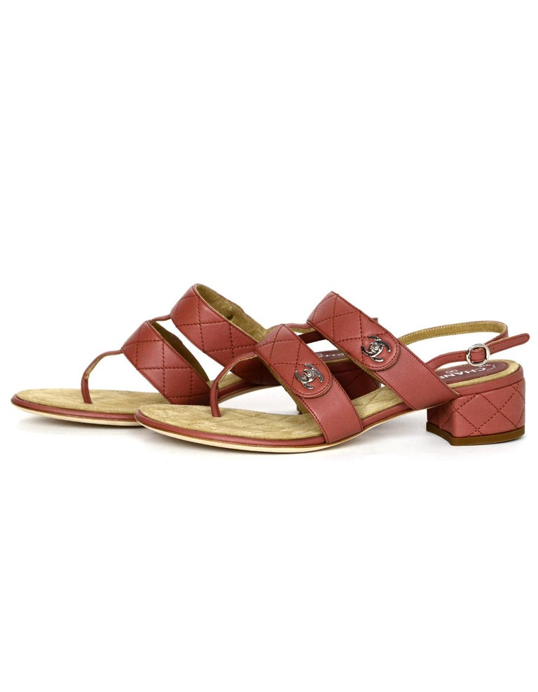 6583d5d6799 Pink Chanel Dark Blush Calfskin Leather Quilted CC Turnlock Heeled Sandals  Sz 38 For Sale