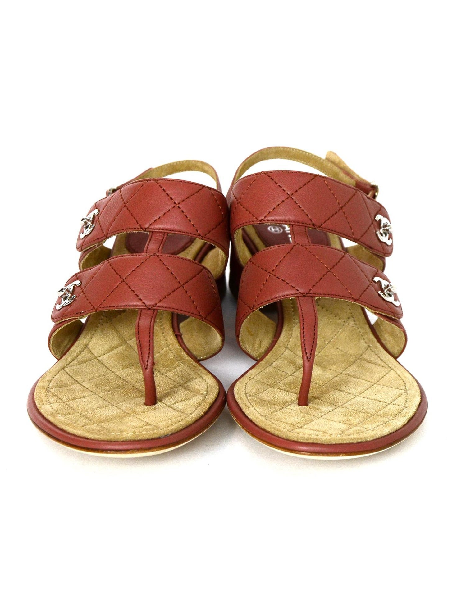 4029c3eadd2 Chanel Dark Blush Calfskin Leather Quilted CC Turnlock Heeled Sandals Sz 38  For Sale at 1stdibs