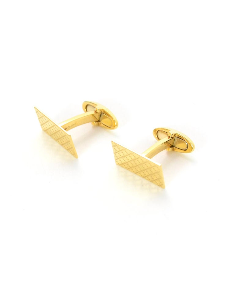 Gucci Men's Yellow Gold Diamantissima Cufflinks with Pillow  In Excellent Condition For Sale In New York, NY