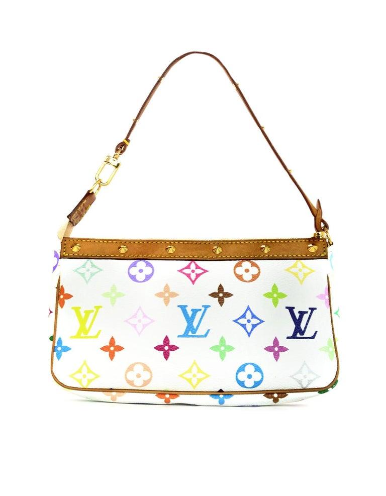 268d409bdfe0 Louis Vuitton LV White Multicolore Monogram Pochette Accessories Bag w.  Studs In Excellent Condition For