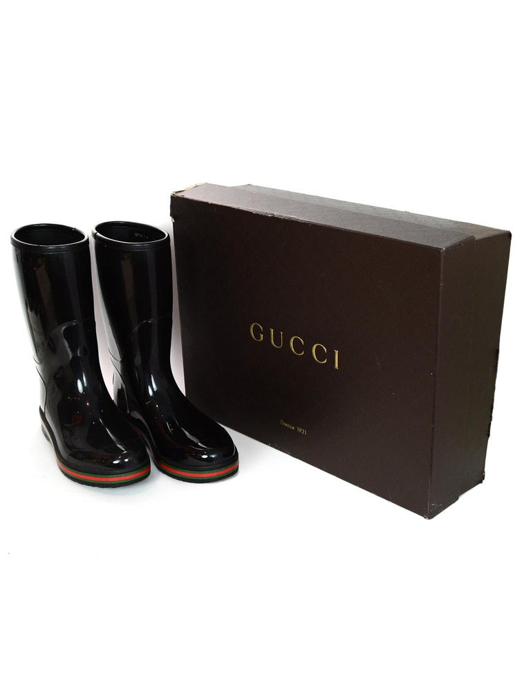 cdcc93ac5 Gucci Black Rain Boots W/ Logo And Green & Red Detailing Mens Sz 11 Made