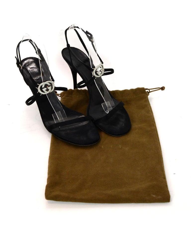 1ee947ea6351 Gucci Black Satin Heeled Sandals W  Crystal GG Logo Sz 41C Wide. Includes  Dust