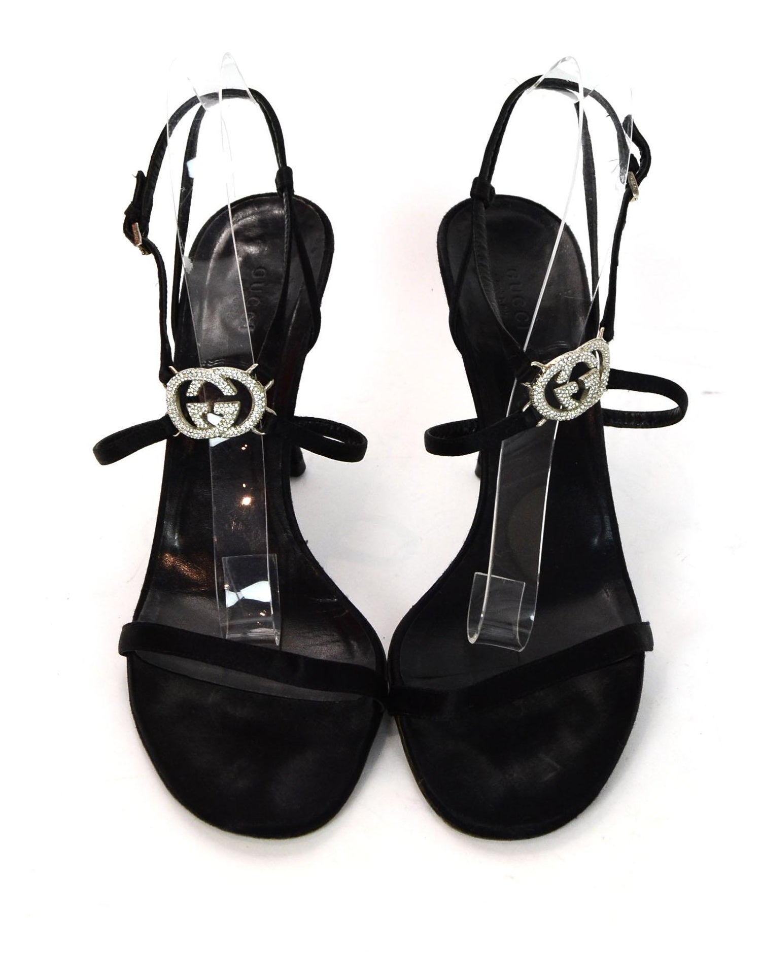 371a5b63ce00 Gucci Black Satin Heeled Sandals W  Crystal GG Logo Sz 41C Wide For Sale at  1stdibs
