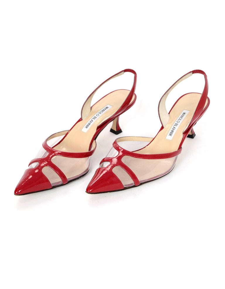 b8bfb78510ee Manolo Blahnik Red Patent Leather Clear PVC Slingback Heels Sz 37.5 ...