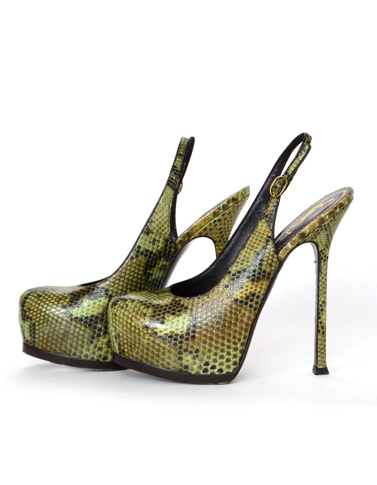 af35d440fb6d YSL Tribute Green Python Hidden Platform Slingback Heel Sz 37.5 For Sale at  1stdibs