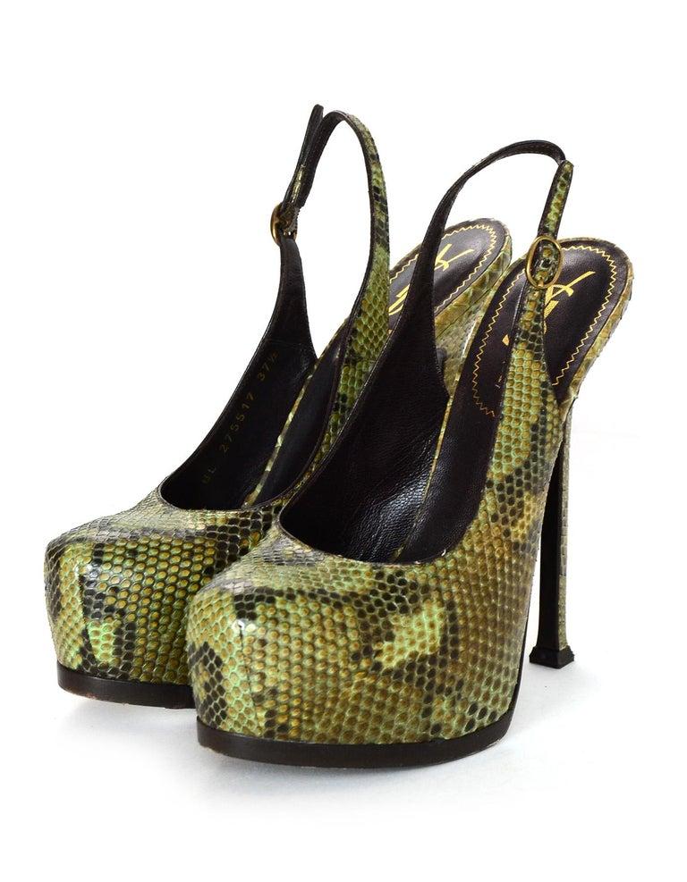 a82c5301b35 Brown YSL Tribute Green Python Hidden Platform Slingback Heel Sz 37.5 For  Sale