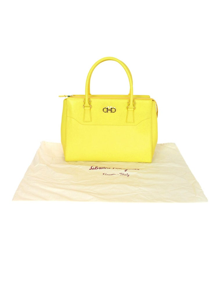 4266d66f39 Salvatore Ferragamo Mimosa Yellow Large Gianco Beky Saffiano Leather ...