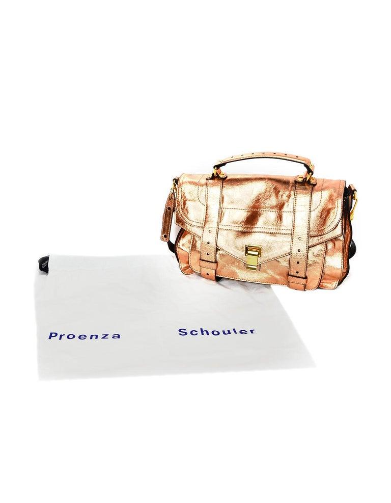 Proenza Schoulder Copper Metallic Lambskin Medium PS1 Satchel Bag For Sale 6