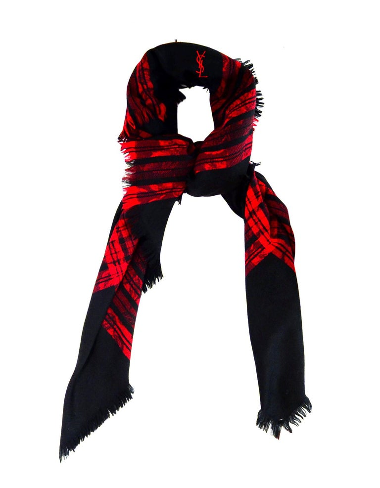 Yves Saint Laurent YSL Vintage Red/Black Jacquard Plaid Tartan Floral Wool Blanket Scarf    Color: Red and black Materials: no composition tag- wool  Overall Condition: Excellent vintage pre-owned condition  Measurements:  58