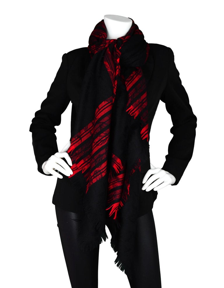 Yves Saint Laurent YSL Vintage Red/Black Jacquard Plaid Blanket Scarf In Excellent Condition For Sale In New York, NY