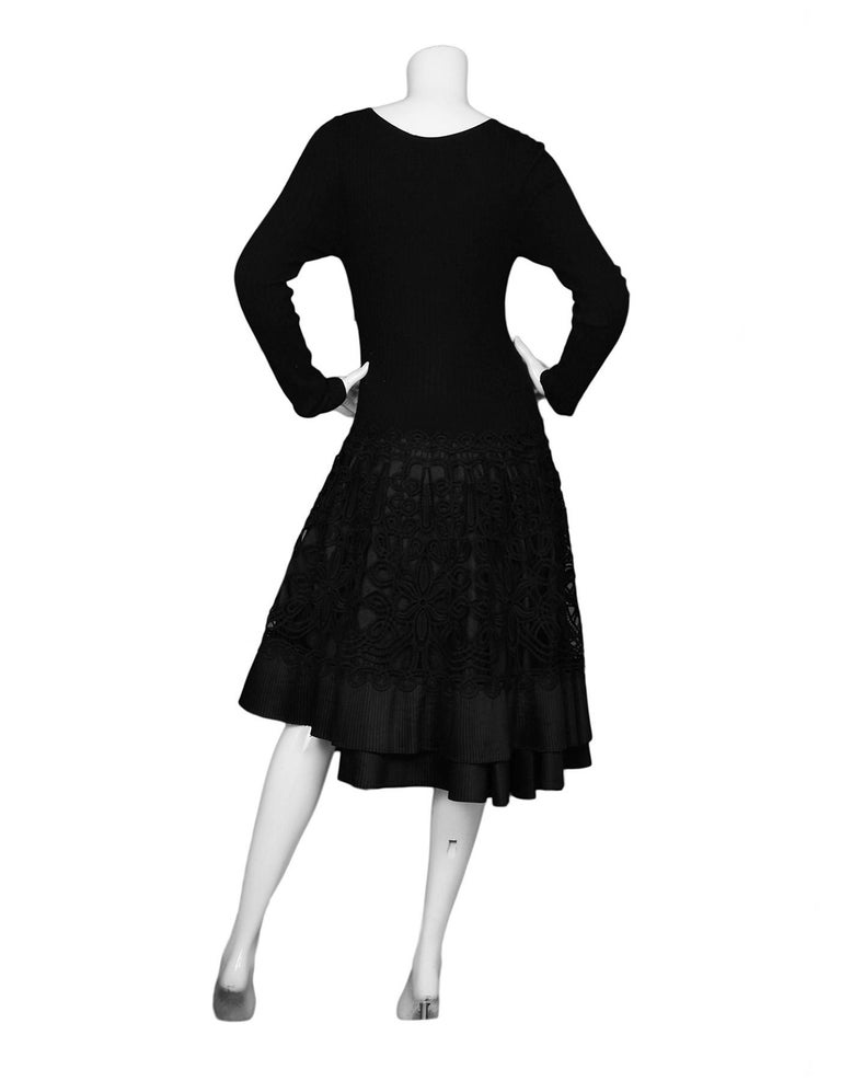 Dolce And Gabbana Ribbed Longsleeve Little Black Dress Lacepleated