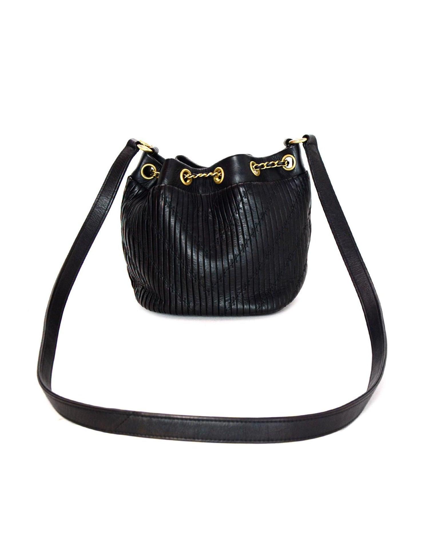 Chanel 2018 Black Leather Coco Pleats Mini CC Chain Drawstring Bucket Bag  For Sale at 1stdibs b09df7e58ea8e