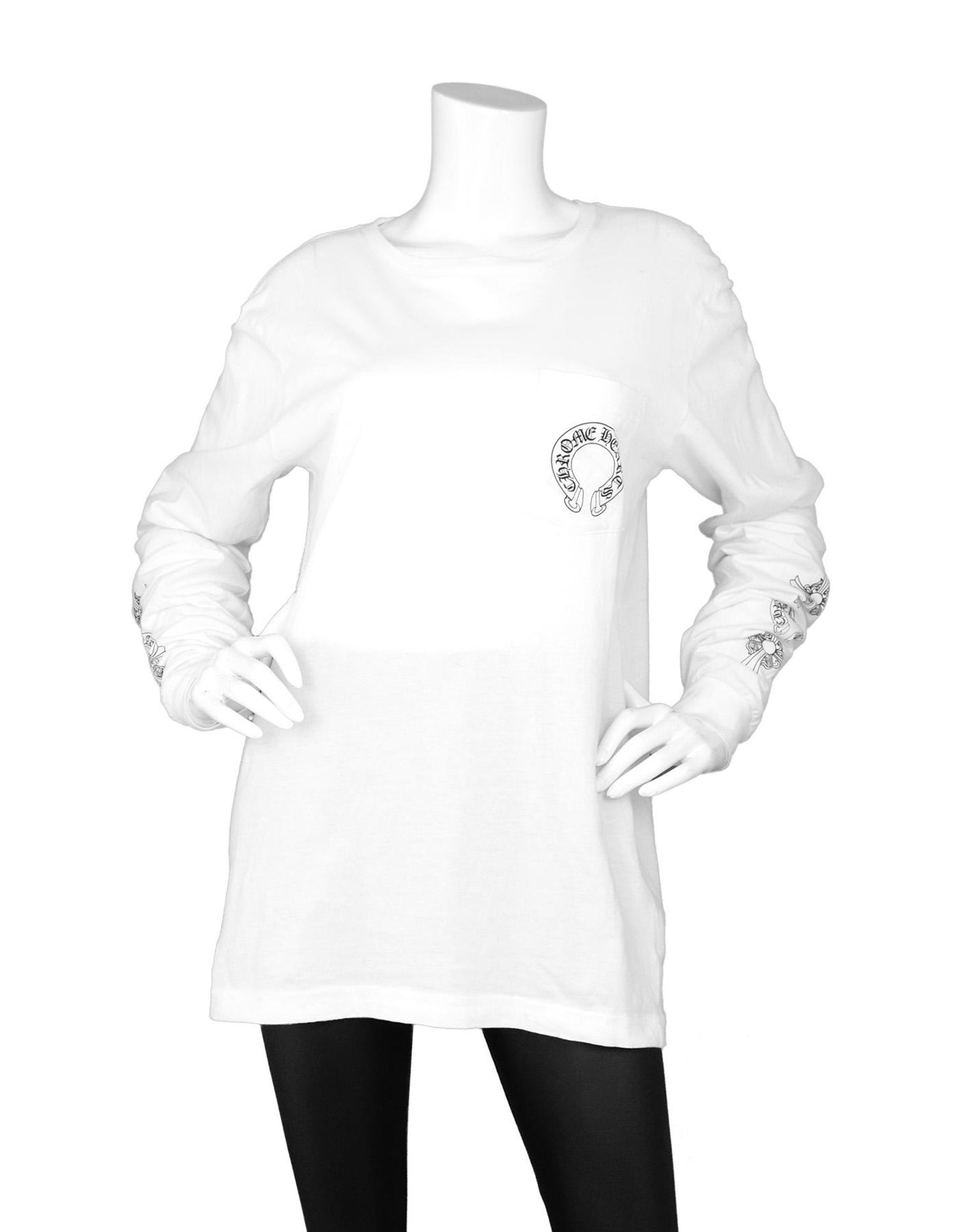 0c6f6112069b Chrome Hearts Men s Unisex White Longsleeve Logo Pocket T-Shirt Sz L For  Sale at 1stdibs