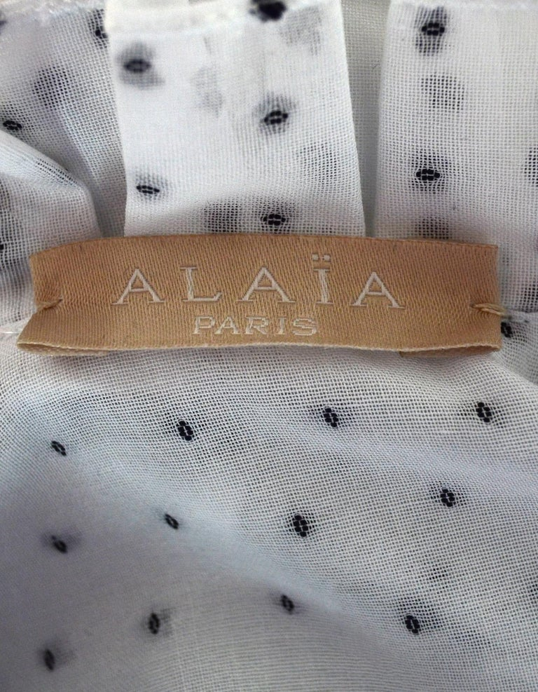 Alaia White/Black Textured Polka Dot Ruffle Blouse Sz 44 In Excellent Condition For Sale In New York, NY
