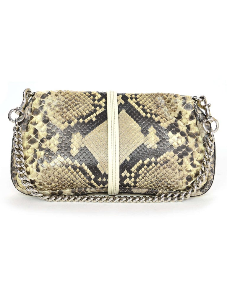 Gucci Off White Python Bamboo Croisette Evening Bag W