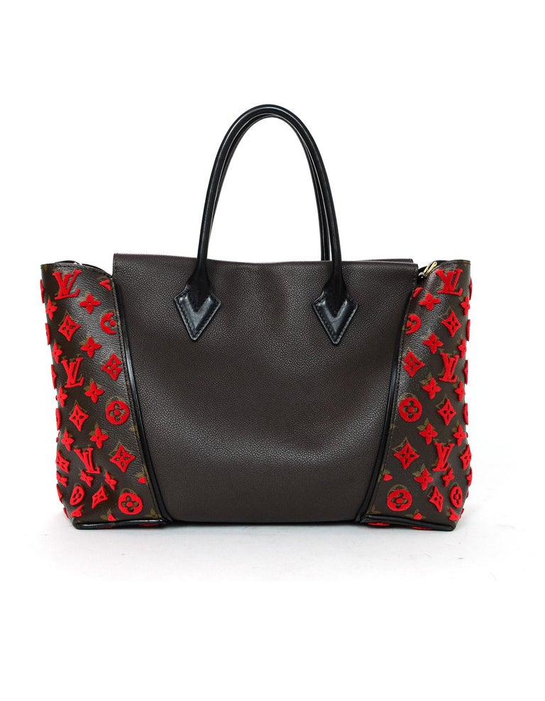 4e9e71cc9724 Black Louis Vuitton LV Monogram Brown Leather Red Velour W Tote Bag For Sale