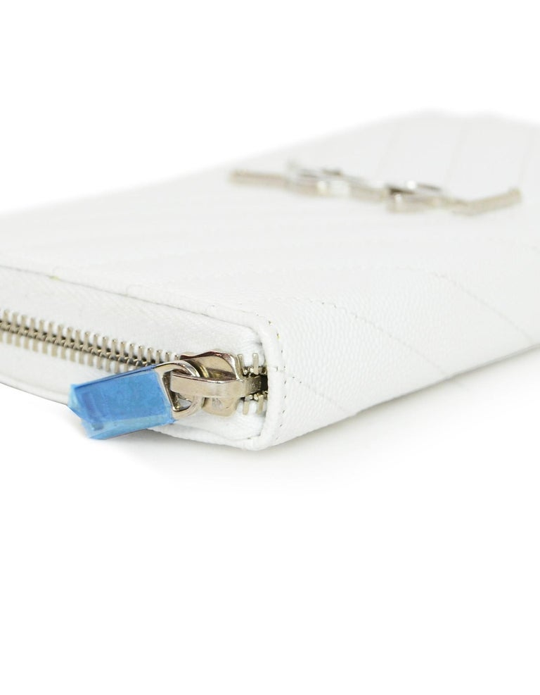 641d709f YSL White Grain De Poudre Chevron Stitched Leather Matelasse Zip-Around  Wallet