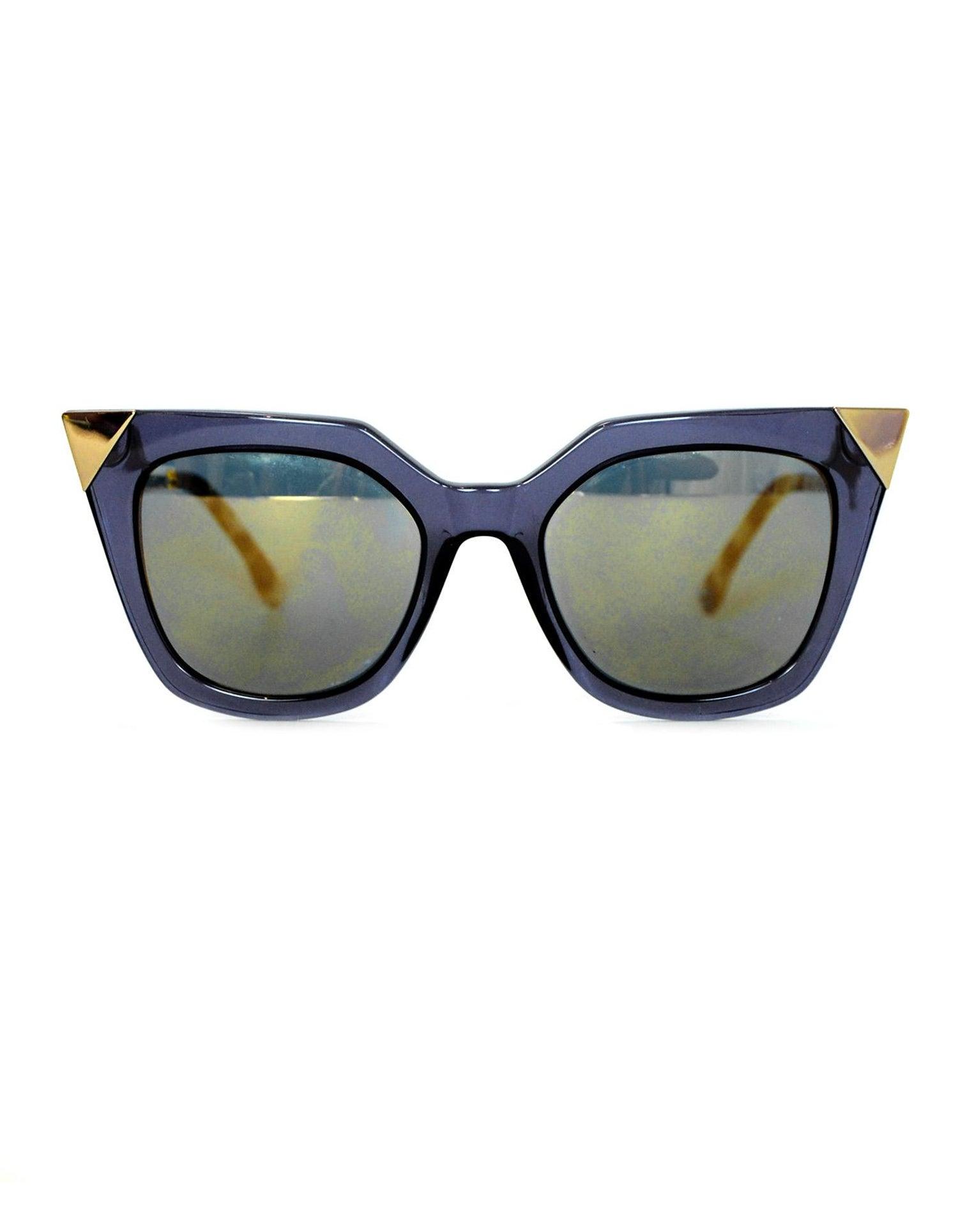 3eac5c09106 Fendi Blue Iridia Metal Tip Cat Eye Sunglasses w  Mirrored Lenses rt.  465 For  Sale at 1stdibs
