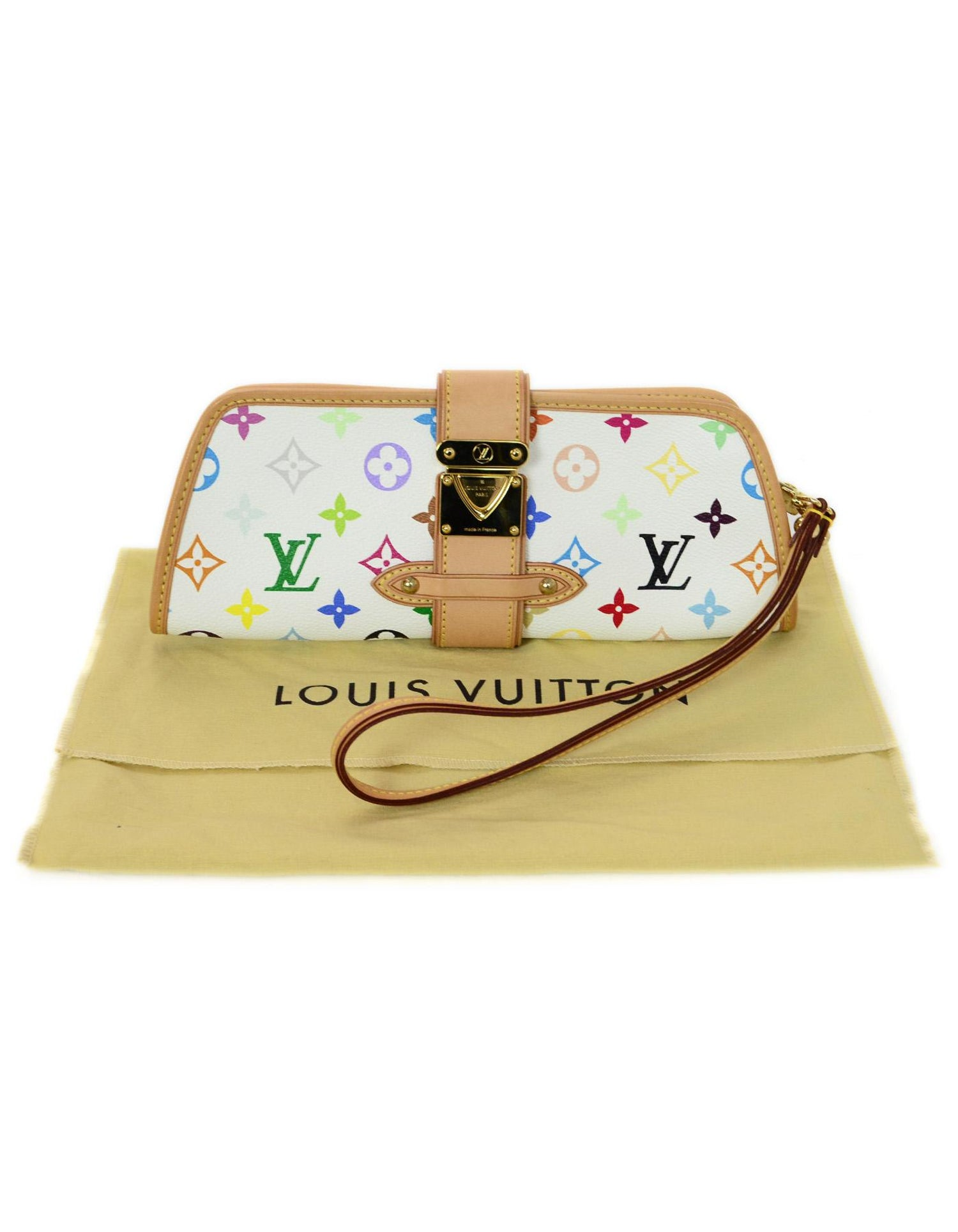bcfce7501eb7e Louis Vuitton Shirley White and Multi-Color LV Monogram Clutch Wristlet Bag  For Sale at 1stdibs