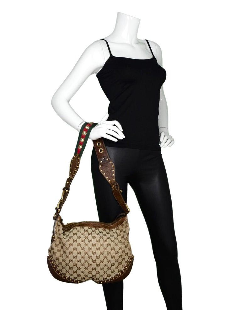 b60bcb80f3c Gucci Beige Canvas Monogram Pelham Messenger Bag W  Studded Web Strap Made  In  Italy