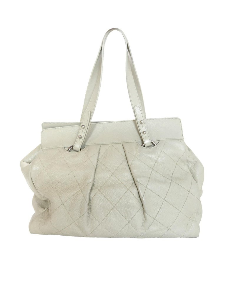 80f3fae7566 Chanel Ivory Quilted Leather CC Twist Lock Tote Bag For Sale at 1stdibs