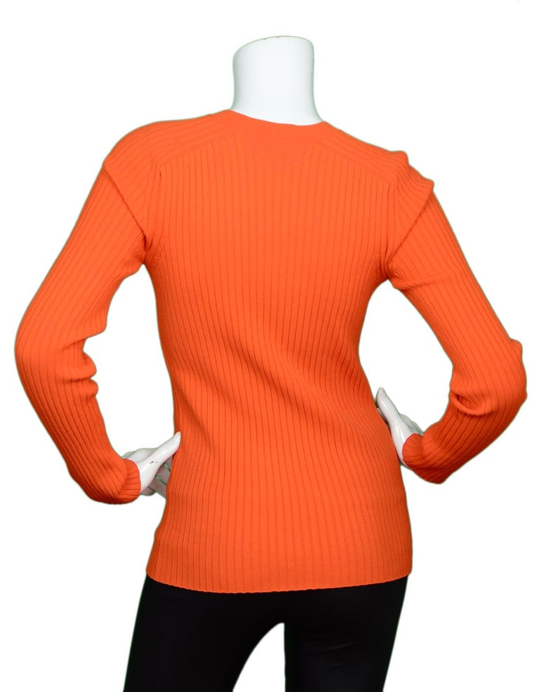 Red Gucci Neon Orange Long Sleeve Ribbed Crew Neck Sweater Sz M
