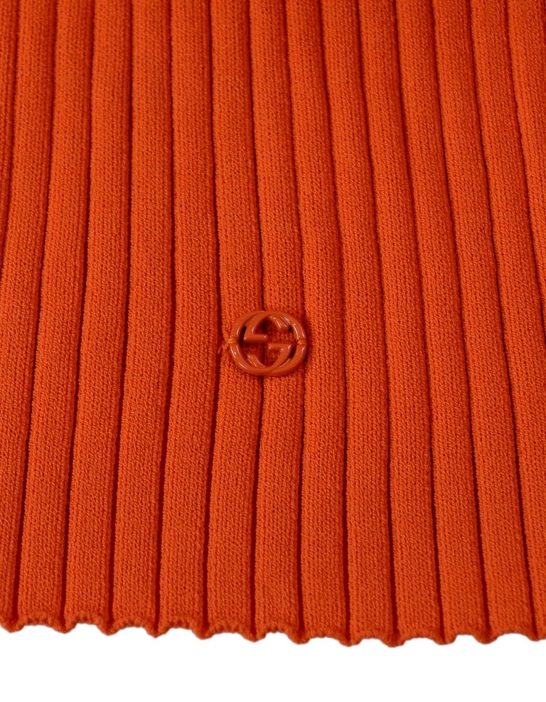 Gucci Neon Orange Long Sleeve Ribbed Crew Neck Sweater Sz M In Good Condition In New York, NY