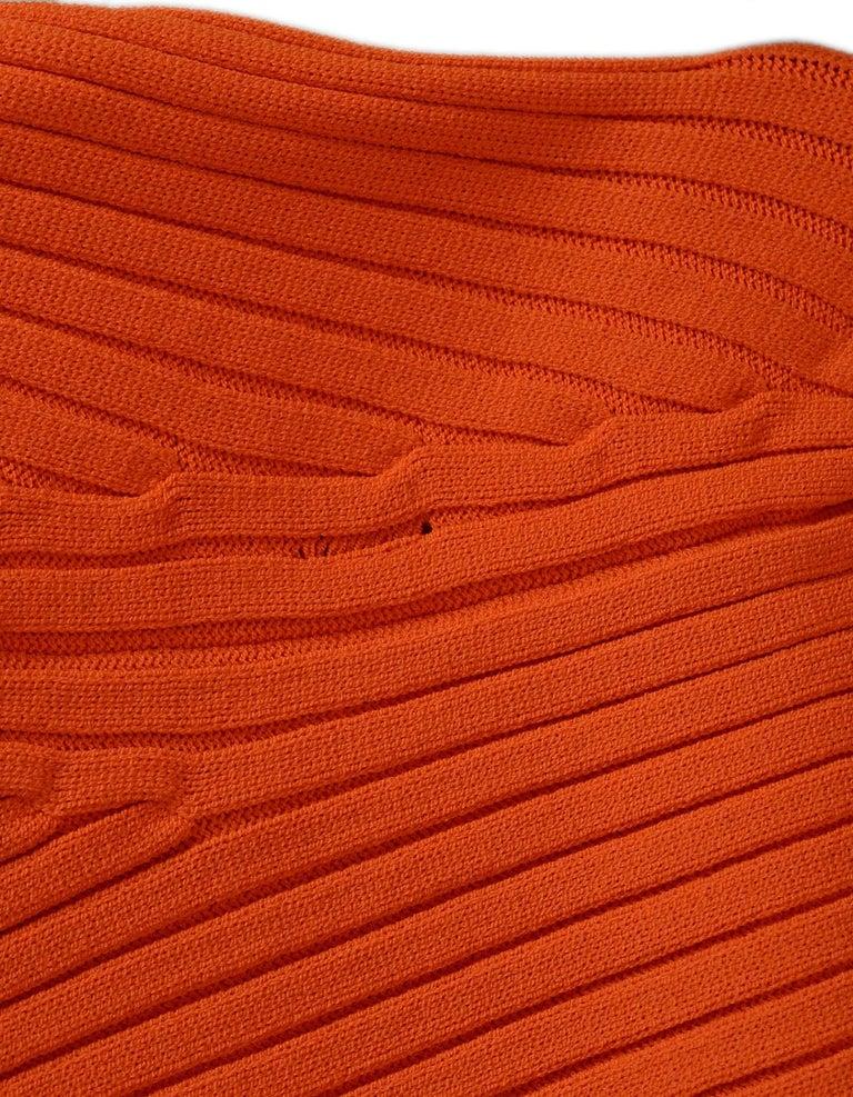 Women's Gucci Neon Orange Long Sleeve Ribbed Crew Neck Sweater Sz M