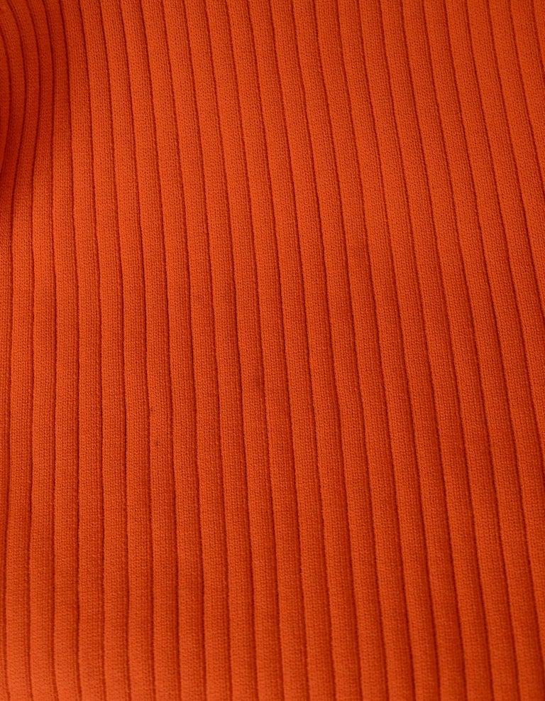 Gucci Neon Orange Long Sleeve Ribbed Crew Neck Sweater Sz M 1