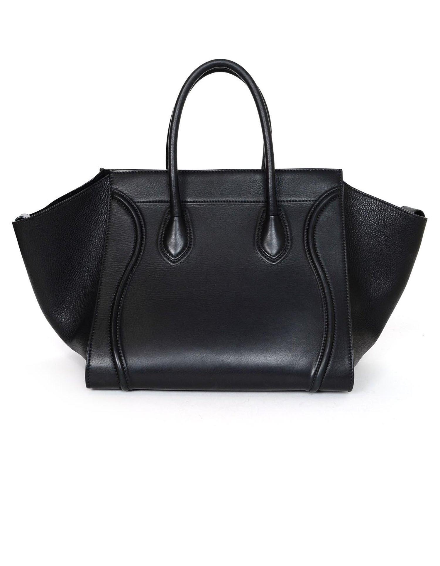 8069525b2b98 Celine Drummed Calfskin Leather Black Medium Phantom Luggage Tote Bag For  Sale at 1stdibs
