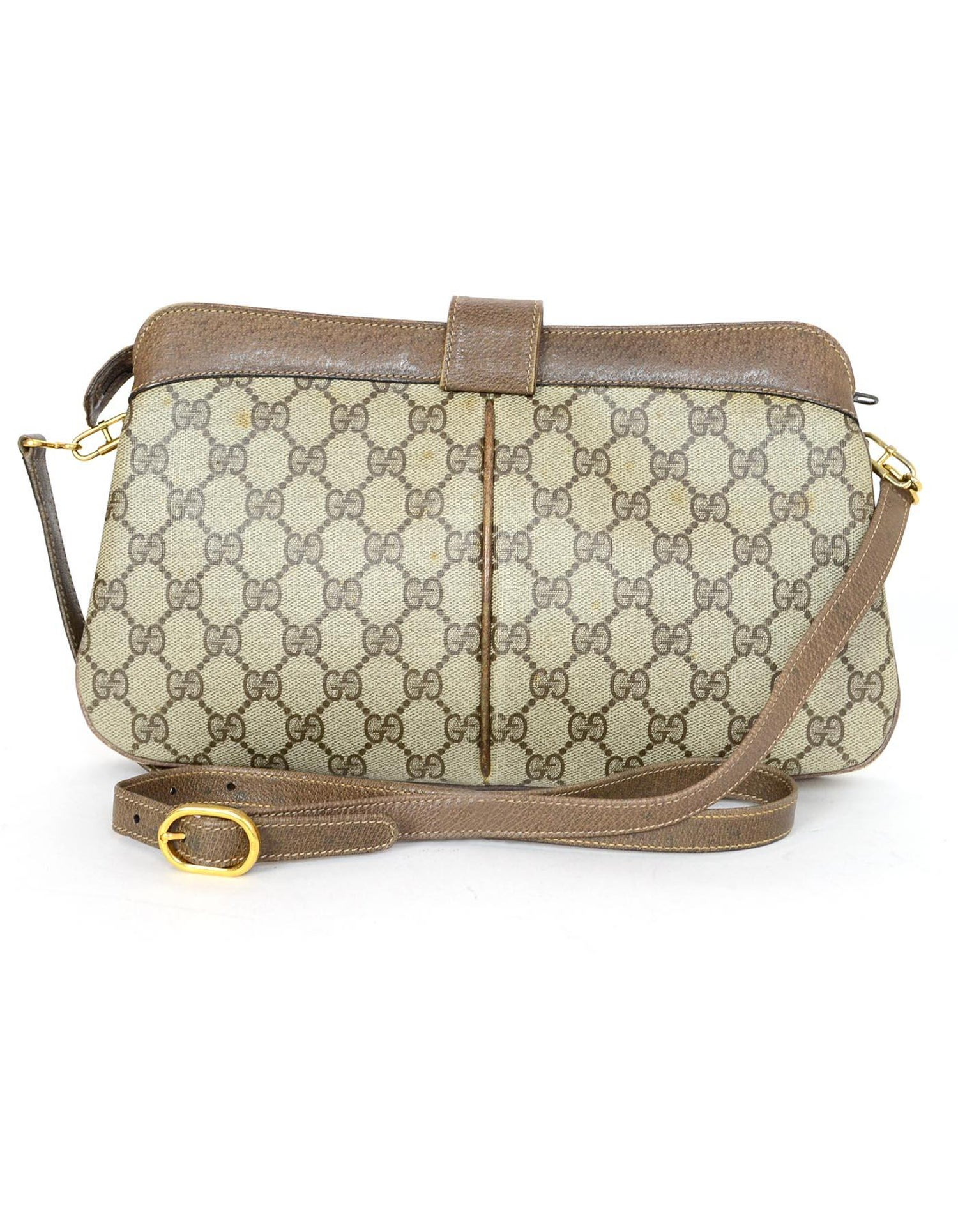 d7f9eb2825c6 Gucci Vintage Monogram Tan Coated Canvas/ Brown Leather GG Supreme Crossbody  Bag For Sale at 1stdibs