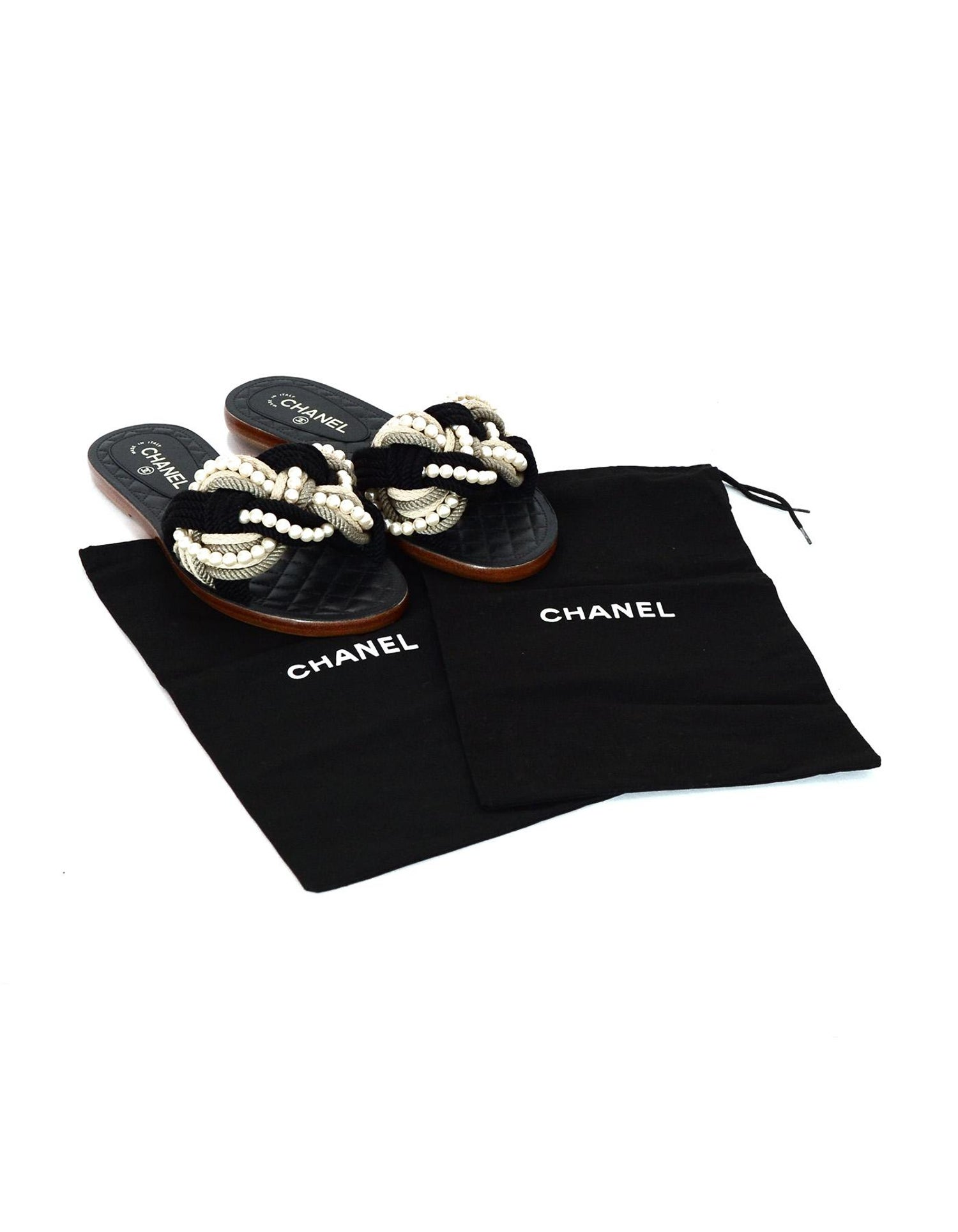 65f3f7830d1c Chanel  17 Paris Cuba Black Beige Braided Rope and Pearl Slide Sandals Sz  40C Wide For Sale at 1stdibs