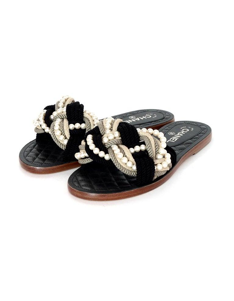 f64f04909e88 Brown Chanel  17 Paris Cuba Black Beige Braided Rope   Pearl Slide Sandals