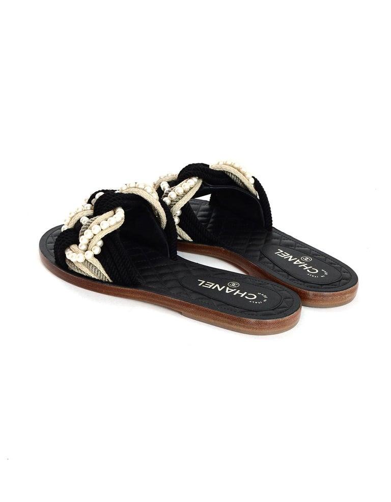 9363ef582029 Chanel  17 Paris Cuba Black Beige Braided Rope   Pearl Slide Sandals Sz