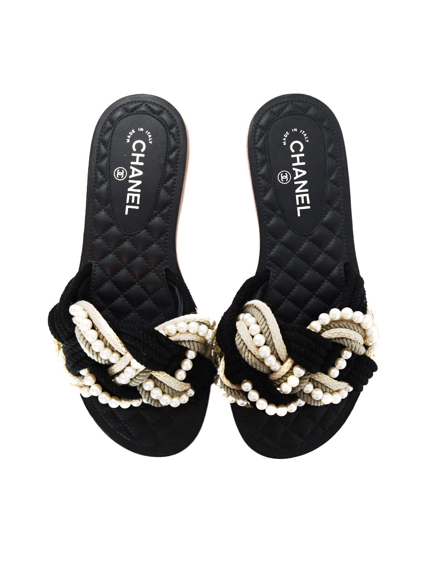 da9b26033fc2 Chanel  17 Paris Cuba Black Beige Braided Rope and Pearl Slide Sandals Sz  40C Wide For Sale at 1stdibs
