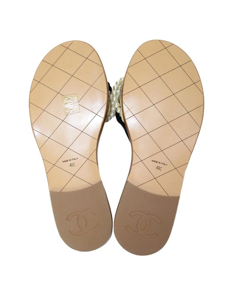 04feaa7942af Chanel  17 Paris Cuba Black Beige Braided Rope   Pearl Slide Sandals Sz