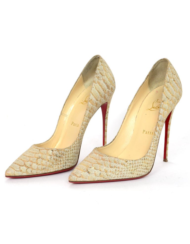 competitive price 23330 35210 Christian Louboutin Tan Python So Kate Heels Pointed Toe Pumps Sz 38.5